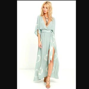 Lulu's Long Live Sage Green Tie Dye Maxi Dress